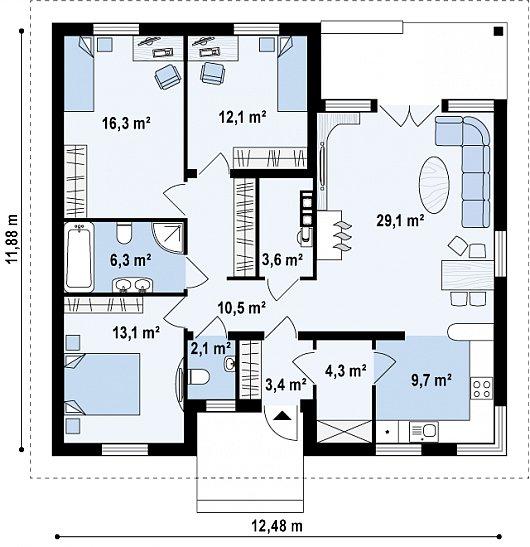 Загородный дом для проживания семьи. Площадь и прочие нюансы.